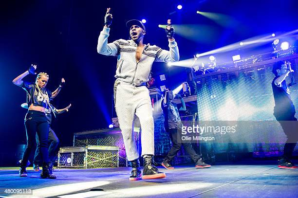 Jason Derulo performs on stage during a date of the 2014 Tattoos World Tour at NIA Arena on March 22 2014 in Birmingham United Kingdom