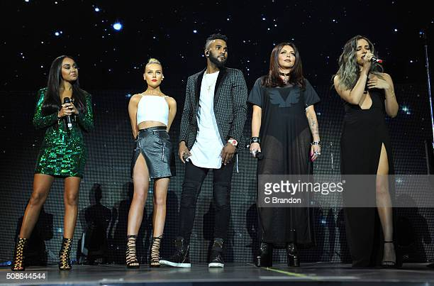 Jason Derulo performs on stage with Little Mix at The O2 Arena on February 5 2016 in London England