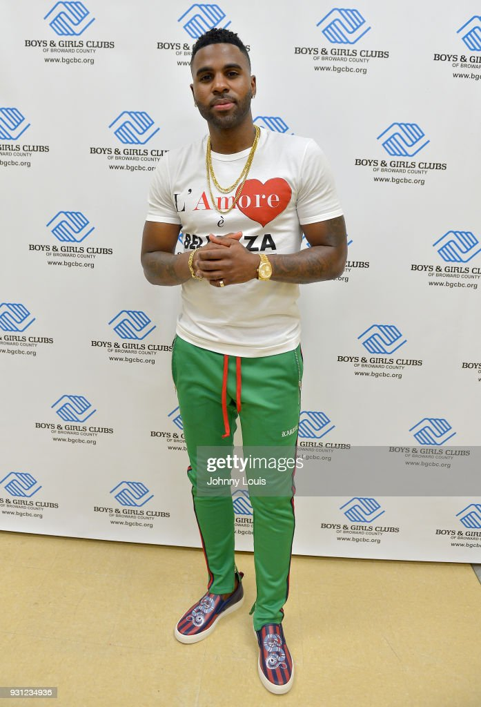 Jason Derulo poses for a picture and interview after joining choreographer Jeremy Strong to teach youth choreography to his new single 'Colors' at Boys & Girls Club of Broward County on March 12, 2018 in Hollywood, Florida. The footage from the lesson will be used in the official 'Colors' lyric video and following the group performance, Derulo hosted a Q&A with the club's youth to answer questions about his upbringing, career and more.