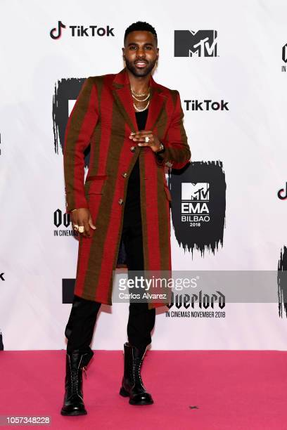 Jason Derulo poses in the Winners room during the MTV EMAs 2018 at Bilbao Exhibition Centre on November 4 2018 in Bilbao Spain