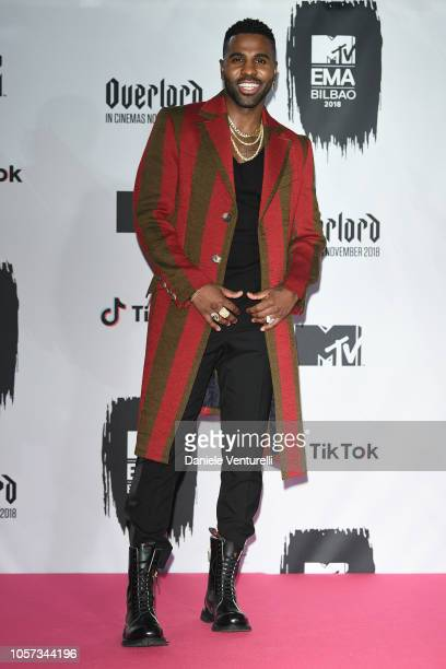 Jason Derulo poses in the Winners room during the MTV EMAs 2018 on November 4 2018 in Bilbao Spain