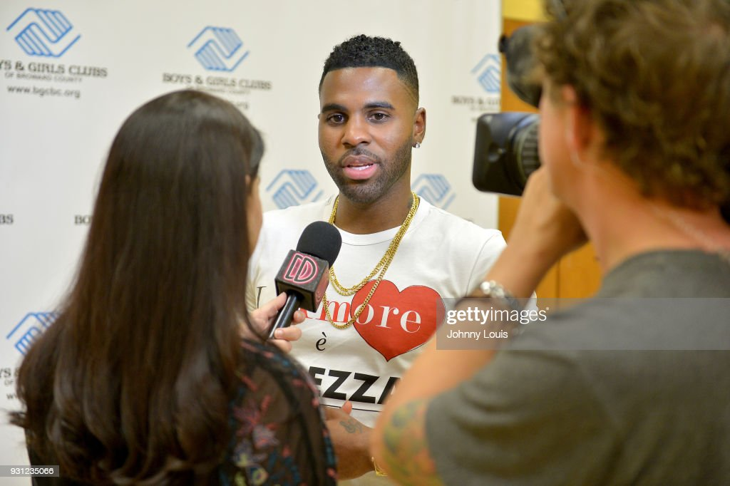 Jason Derulo talking to the media after joining choreographer Jeremy Strong to teaching youth choreography to his new single 'Colors' at Boys & Girls Club of Broward County on March 12, 2018 in Hollywood, Florida. The footage from the lesson will be used in the official 'Colors' lyric video and following the group performance, Derulo hosted a Q&A with the clubs youth to answer questions about his upbringing, career and more.