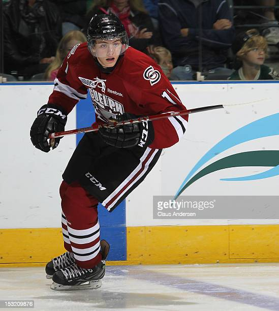 Jason Dickenson of the Guelph Storm skates in an OHL game against the London Knights on September 30 2012 at the Budweiser Gardens in London Canada...