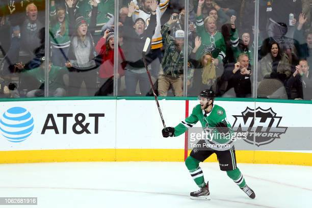 Jason Dickinson of the Dallas Stars celebrates after scoring the game winning goal against the Boston Bruins in over time at American Airlines Center...