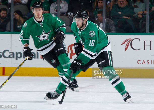 Jason Dickinson of the Dallas Stars handles the puck against the Arizona Coyotes at the American Airlines Center on April 4 2017 in Dallas Texas