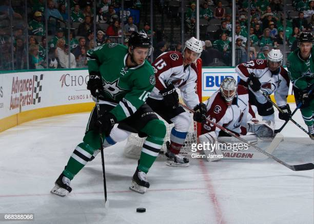 Jason Dickinson of the Dallas Stars handles the puck against the Colorado Avalanche at the American Airlines Center on April 8 2017 in Dallas Texas