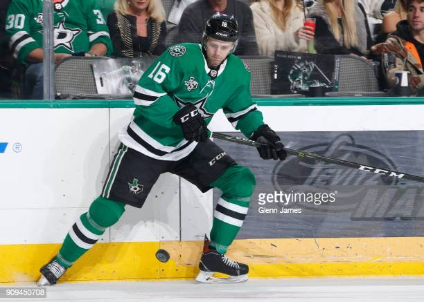 Jason Dickinson of the Dallas Stars handles the puck against the Florida Panthers at the American Airlines Center on January 23 2018 in Dallas Texas