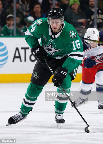 Jason Dickinson of the Dallas Stars handles the puck against the Columbus Blue Jackets at the American Airlines Center on January 2 2018 in Dallas...