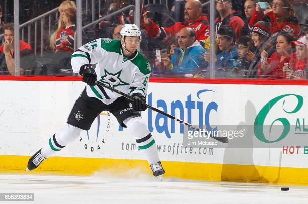 Jason Dickinson of the Dallas Stars in action against the New Jersey Devils on March 26 2017 at Prudential Center in Newark New Jersey The Stars...