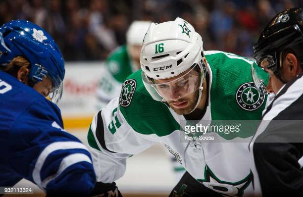 Jason Dickinson of the Dallas Stars lines up for a faceoff against William Nylander of the Toronto Maple Leafs during the first period at the Air...