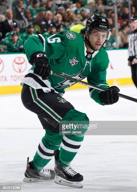 Jason Dickinson of the Dallas Stars skates against the Columbus Blue Jackets at the American Airlines Center on January 2 2018 in Dallas Texas
