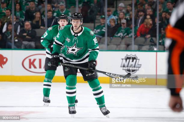Jason Dickinson of the Dallas Stars skates against the Florida Panthers at the American Airlines Center on January 23 2018 in Dallas Texas