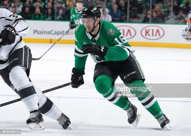 Jason Dickinson of the Dallas Stars skates against the Los Angeles Kings at the American Airlines Center on January 30 2018 in Dallas Texas