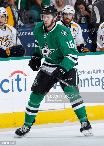 Jason Dickinson of the Dallas Stars skates against the Nashville Predators at the American Airlines Center on April 6 2017 in Dallas Texas