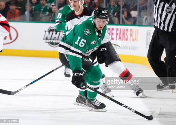 Jason Dickinson of the Dallas Stars skates against the New Jersey Devils at the American Airlines Center on January 4 2018 in Dallas Texas