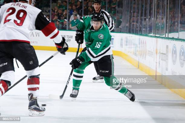 Jason Dickinson of the Dallas Stars winds up a shot against the Arizona Coyotes at the American Airlines Center on April 4 2017 in Dallas Texas