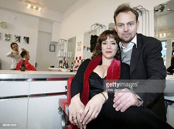 Jason Donovan and Harriet Thorpe pose in a barbers chair as they launch the national tour of Stephen Sondheim's musical Sweeney Todd, which kicks off...