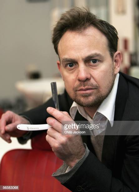 Jason Donovan holds up a cut-throat razor as he launches the national tour of Stephen Sondheim's musical Sweeney Todd - which kicks off here January...