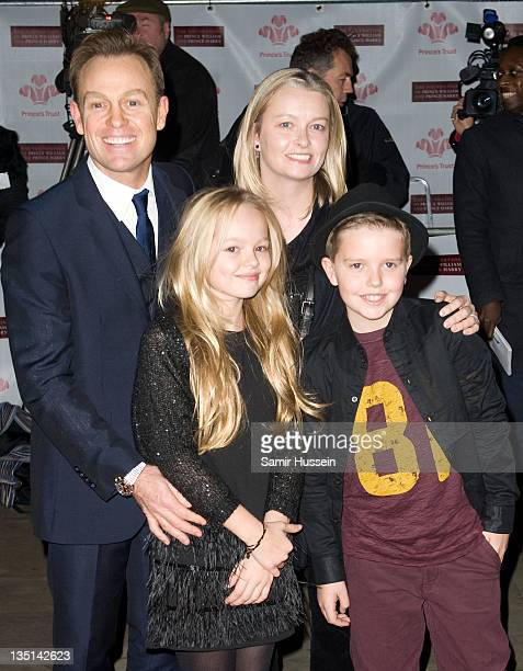 Jason Donovan wife Angela Malloch and family arrive for a Gary Barlow Concert in support of The Prince's Trust at the Royal Albert Hall on December 6...
