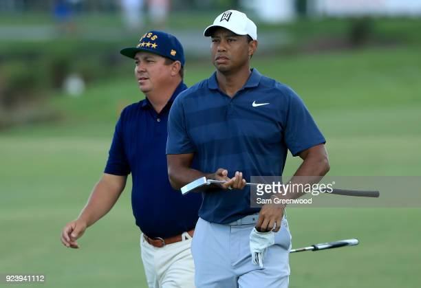 Jason Dufner and Tiger Woods walk down the 15th hole during the third round of The Honda Classic at PGA National Resort and Spa on February 24 2018...