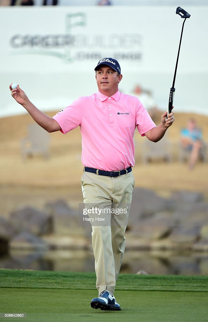 Jason Dufner celebrates after winning the CareerBuilder Challenge In Partnership With The Clinton Foundation on the second playoff hole on the 18th green at the TPC Stadium course at PGA West on January 24, 2016 in La Quinta, California.