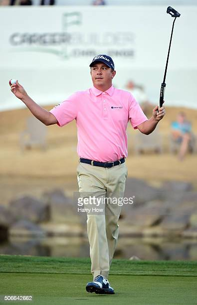 Jason Dufner celebrates after winning the CareerBuilder Challenge In Partnership With The Clinton Foundation on the second playoff hole on the 18th...