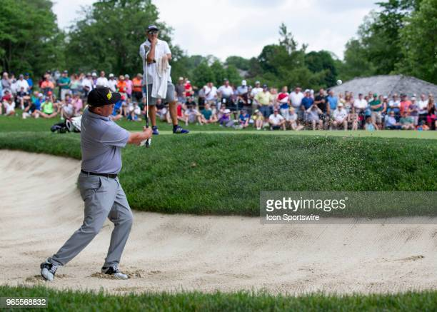 Jason Dufner hit from a bunker during the second round of the Memorial Tournament at Muirfield Village Golf Club in Dublin Ohio on June 01 2018