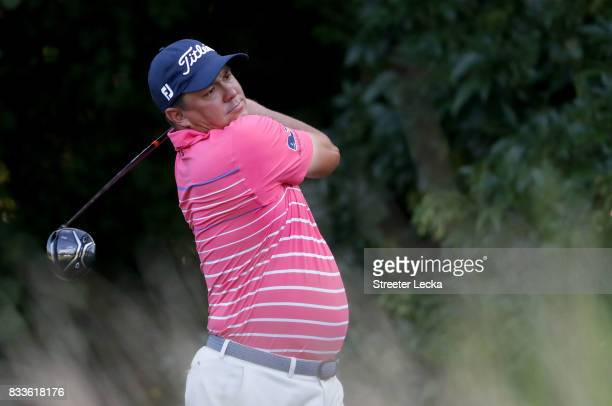 Jason Dufner hits a tee shot on the 13th hole during the first round of the Wyndham Championship at Sedgefield Country Club on August 17 2017 in...