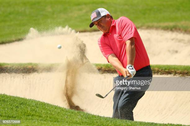Jason Dufner hits from a bunker on the first hole during the second round of World Golf ChampionshipsMexico Championship at Club de Golf Chapultepec...
