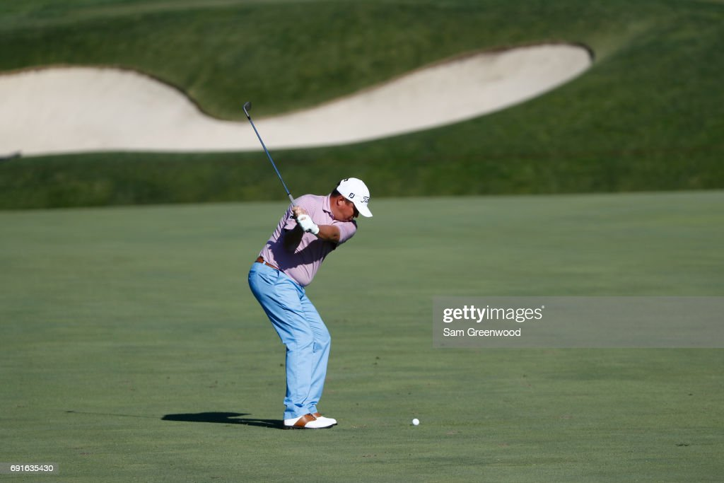 Jason Dufner hits his second shot on the 11th hole during the second round of the Memorial Tournament at Muirfield Village Golf Club on June 2, 2017 in Dublin, Ohio.