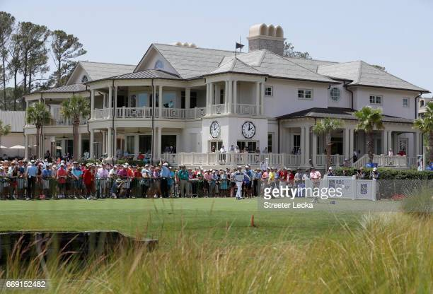 Jason Dufner hits his tee shot on the first hole during the final round of the 2017 RBC Heritage at Harbour Town Golf Links on April 16 2017 in...