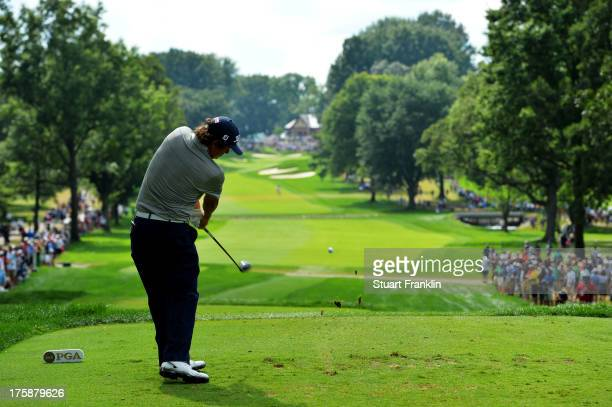 Jason Dufner of the United States hits his tee on the 13th hole during the second round of the 95th PGA Championship on August 9, 2013 in Rochester,...