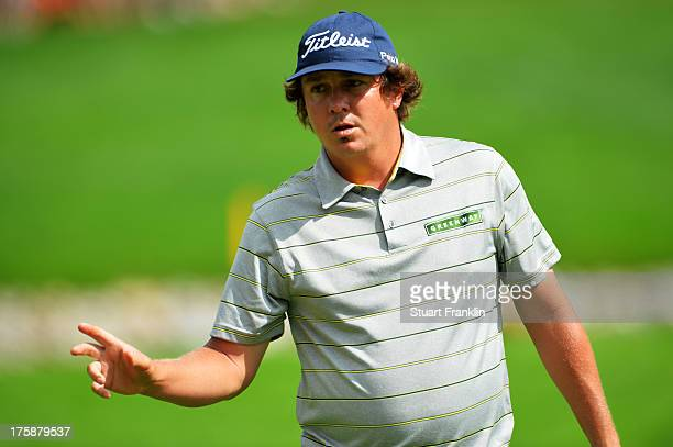 Jason Dufner of the United States makes birdie on the 11th hole during the second round of the 95th PGA Championship on August 9, 2013 in Rochester,...