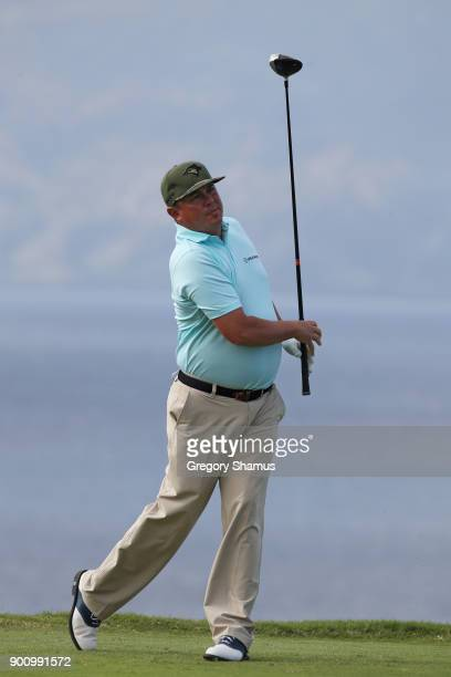 Jason Dufner of the United States plays a shot during the proam tournament prior to the Sentry Tournament of Champions at Plantation Course at...