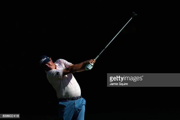 Jason Dufner of the United States plays a shot on the third hole during round one of The Northern Trust at Glen Oaks Club on August 24 2017 in...