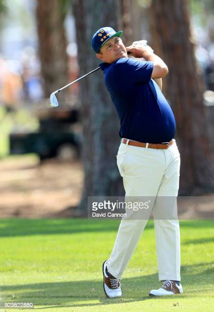 Jason Dufner of the United States plays his second shot on the par 4 second hole during the third round of the 2018 Honda Classic on The Champions...