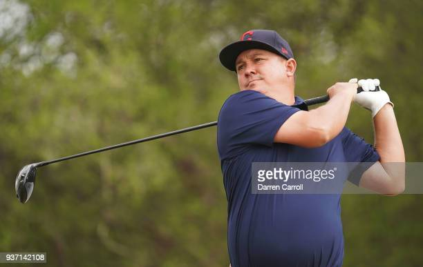 Jason Dufner of the United States plays his shot from the 12th tee during the third round of the World Golf ChampionshipsDell Match Play at Austin...
