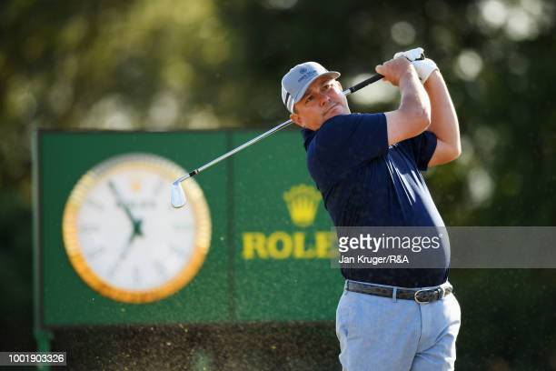 Jason Dufner of the United States plays his shot from the 13th tee during round one of the 147th Open Championship at Carnoustie Golf Club on July 19...