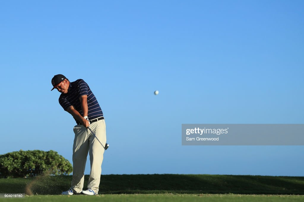 Jason Dufner of the United States plays his shot from the 17th tee during round one of the Sony Open In Hawaii at Waialae Country Club on January 11, 2018 in Honolulu, Hawaii.
