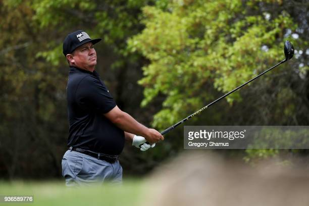 Jason Dufner of the United States plays his shot from the fifth tee during the second round of the World Golf ChampionshipsDell Match Play at Austin...