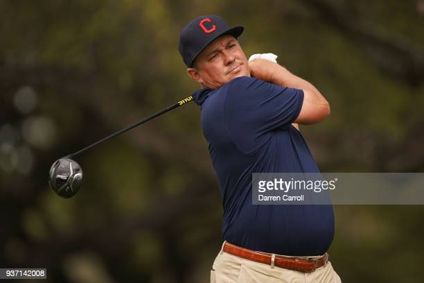 Jason Dufner of the United States plays his shot from the ninth tee during the third round of the World Golf ChampionshipsDell Match Play at Austin...