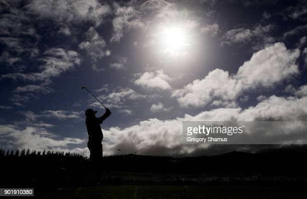 Jason Dufner of the United States plays his shot from the second tee during the third round of the Sentry Tournament of Champions at Plantation...
