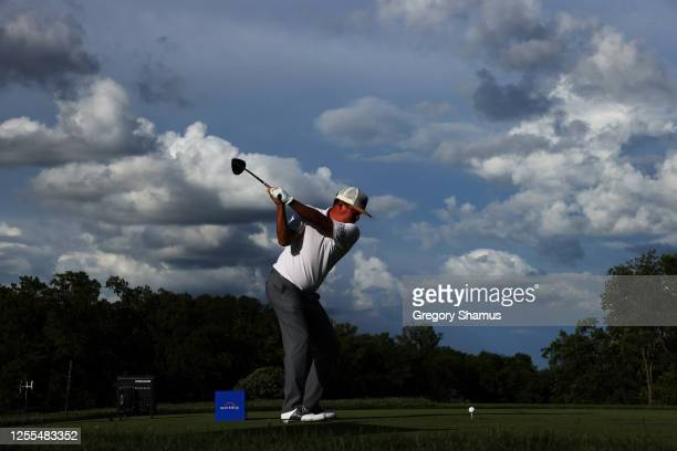 Jason Dufner of the United States plays his shot from the tenth tee during the second round of the Workday Charity Open on July 10, 2020 at Muirfield...