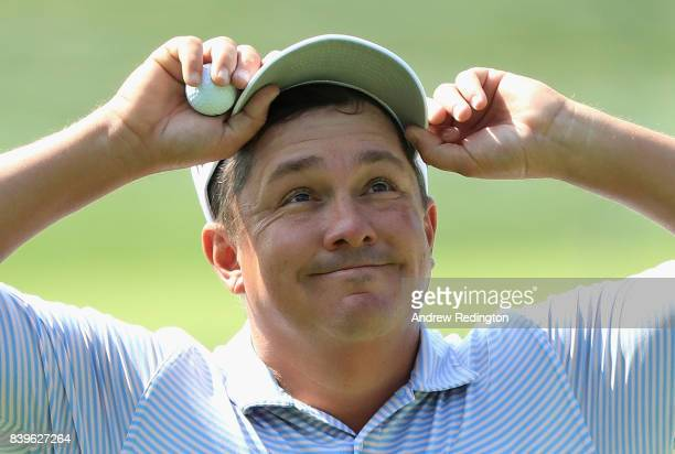 Jason Dufner of the United States reacts on the 14th hole during round three of The Northern Trust at Glen Oaks Club on August 26 2017 in Westbury...