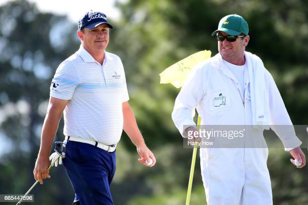Jason Dufner of the United States smiles as he saves par on the 17th hole during the first round of the 2017 Masters Tournament at Augusta National...