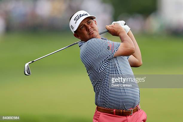 Jason Dufner of the United States takes his second shot on the first during the first round of the US Open at Oakmont Country Club on June 16 2016 in...