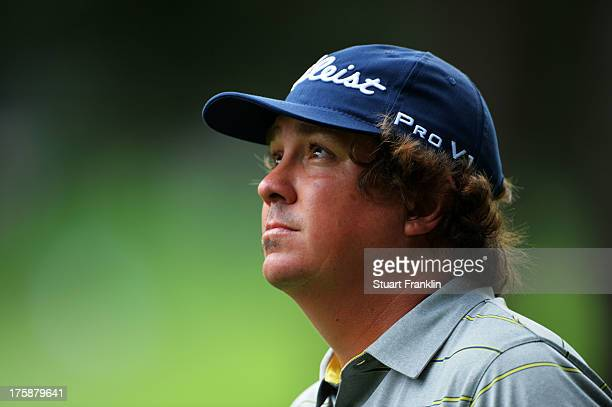Jason Dufner of the United States waits on the 13th hole during the second round of the 95th PGA Championship on August 9, 2013 in Rochester, New...