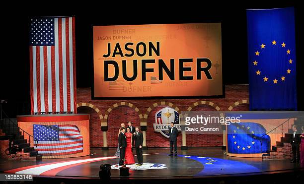 Jason Dufner of the USA and his wife Amanda Dufner talk with Justin Timberlake at the 39th Ryder Cup Gala at Akoo Theatre at Rosemont on September 26...