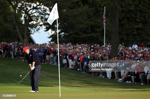 Jason Dufner of the USA chips onto the first green during the Morning Foursome Matches for The 39th Ryder Cup at Medinah Country Club on September...