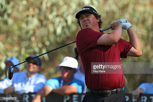 Jason Dufner of the USA tees off on the 11th hole during round three of the Perth International at Lake Karrinyup Country Club on October 20 2012 in...